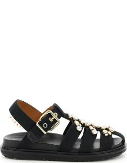 MARNI SANDALS WITH CRYSTALS 35 Black Cotton
