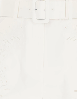 SELF PORTRAIT BELTED SHORTS 6 White Cotton