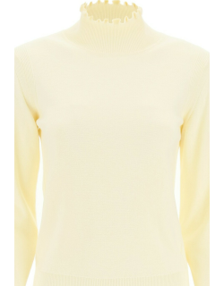 SEE BY CHLOE RUCHED NECK SWEATER S White Cotton