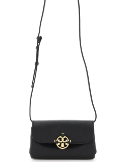 TORY BURCH MIRA WALLET WITH SHOULDER STRAP OS Black Leather