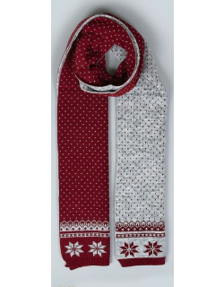 Dents Women's Snowflake Knitted Scarf In Claret/dove Grey
