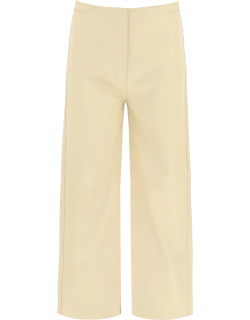 TOTEME LEATHER WIDE TROUSERS 34 Beige Leather