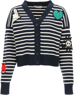 ALEXANDER MCQUEEN STRIPED CARDIGAN WITH CROCHET EMBROIDERY S Blue, White, Red Wool