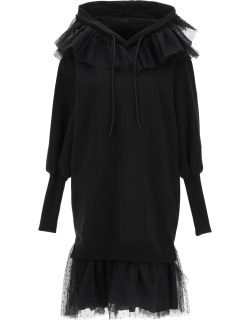 RED VALENTINO FLEECE DRESS WITH TULLE POINT D'ESPRIT M Black Cotton