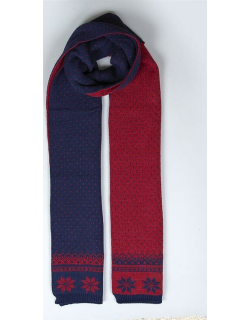 Dents Women's Snowflake Knitted Scarf In Navy/claret