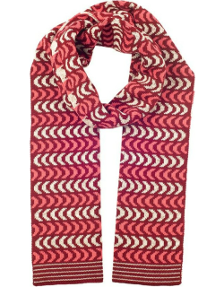 Dents Women's Chevron Knitted Scarf In Claret/dove Grey