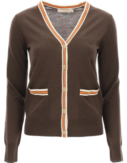 TORY BURCH MADELINE CARDIGAN WITH LOGO BUTTONS M Brown, Orange, Beige Wool