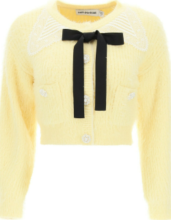 SELF PORTRAIT CARDIGAN WITH GUIPURE COLLAR AND JEWEL BUTTONS M Yellow Cotton, Wool