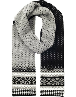 Dents Women's Fair Isle Knitted Scarf In Dove Grey