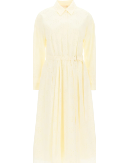 TORY BURCH MIDI DRESS WITH LOGO EMBROIDERY 6 Yellow Cotton