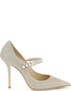JIMMY CHOO BAILY GLITTER PUMPS WITH CRYSTALS 37 Gold