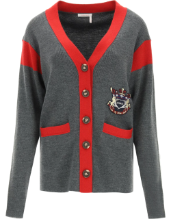 SEE BY CHLOE COLLEGE STYLE CARDIGAN S Grey, Red