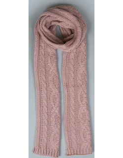 Dents Women's Metallic Cable Knit Scarf In Pink