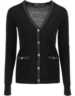 TORY BURCH MADELINE CARDIGAN WITH LOGO BUTTONS S Black Wool