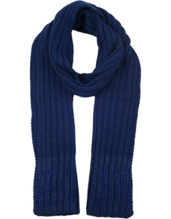 Dents Women's Diamante Knitted Scarf In Royal Blue