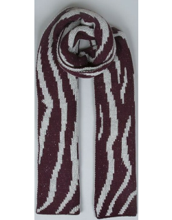 Dents Women's Striped Knitted Scarf In Plum/dove Grey
