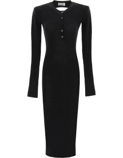 THE ATTICO WOOL MIDI DRESS WITH CUT-OUT 38 Black Wool