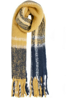 Dents Women's Colourful Check Blanket Scarf In Ochre
