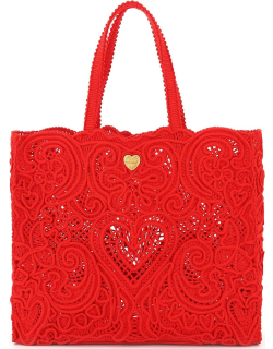 DOLCE & GABBANA BEATRICE LARGE TOTE BAG CORDONETTO LACE OS Red Cotton