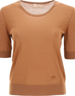 TORY BURCH T MONOGRAM EMBROIDERED SWEATER S Brown Cotton