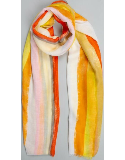 Dents Women's Lightweight Scarf With Large Stripes In Yellow