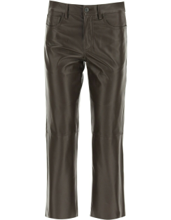 DROME CROPPED FIVE POCKET TROUSERS M Brown Leather