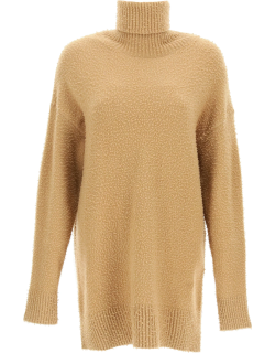 SPORTMAX HIGH NECK SWEATER IN WOOL AND ANGORA S Beige, Brown Wool