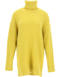 SPORTMAX HIGH NECK SWEATER IN WOOL AND ANGORA S Yellow Wool