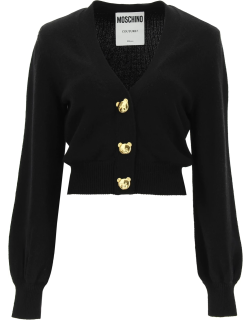MOSCHINO CARDIGAN WITH TEDDY BEAR BUTTONS 40 Black Cashmere, Wool