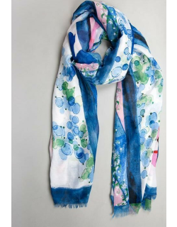 Dents Women's Lightweight Scarf With Floral Print In Blue