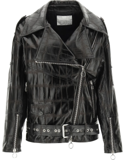 DROME LEATHER BIKER JACKET S Brown Leather