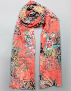 Dents Women's Floral And Animal Print Scarf In Coral