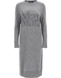 'S MAX MARA KNITTED TURTLENECK DRESS S Grey Wool, Cashmere