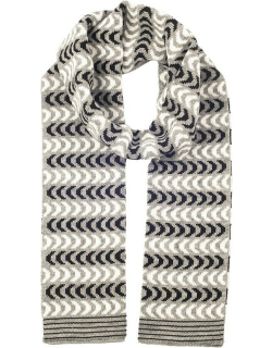 Dents Women's Chevron Knitted Scarf In Black/dove Grey