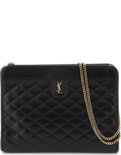 SAINT LAURENT VICTOIRE QUILTED CLUTCH OS Black Leather