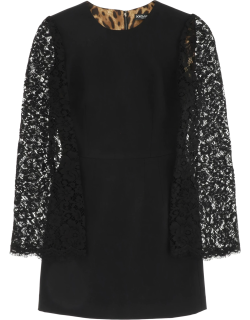 DOLCE & GABBANA MINI DRESS WITH CORDONETTO LACE SLEEVES 42 Black Cotton