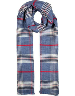 Dents Women's Lightweight Check Print Knitted Scarf In Navy
