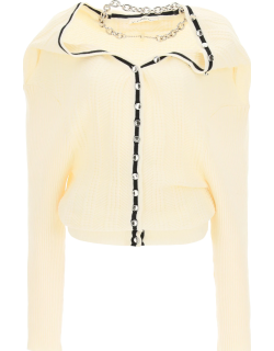 Y PROJECT RUFFLE CARDIGAN WITH CHAIN NECKLACE 38 Beige Wool