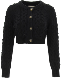 LOULOU STUDIO ABACO CROPPED CARDIGAN XS Black Wool, Cashmere