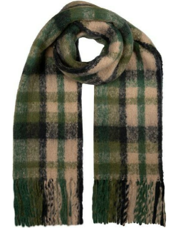 Dents Women's Bold Checked Blanket Scarf In Forest/camel