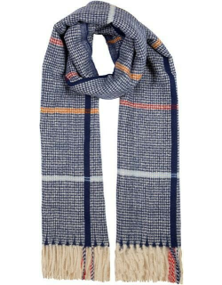 Dents Women's Midweight Checked Scarf In Blue