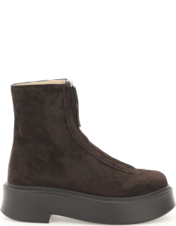 THE ROW ZIPPED SUEDE LEATHER ANKLE BOOTS 36 Brown Leather