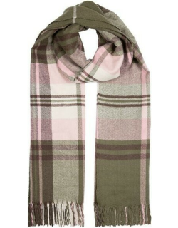 Dents Women's Midweight Bold Checked Scarf In Forest Green