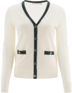 TORY BURCH MADELINE CARDIGAN WITH LOGO BUTTONS XS White Wool