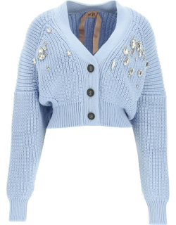 N.21 CARDIGAN WITH CRYSTALS 40 Light blue Wool