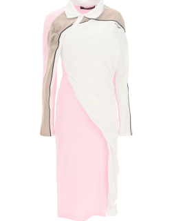Y PROJECT DRAPED POLO DRESS 36 White, Pink, Beige Cotton