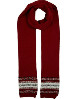 Dents Women's Knitted Scarf With Fairisle Print In Berry