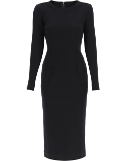 DOLCE & GABBANA LONG DRESS WITH LOGO DETAIL ON THE CUFFS 40 Black Technical
