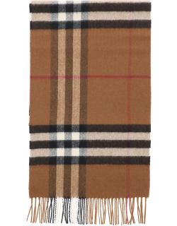 BURBERRY GIANT CHECK SCARF OS Brown, White, Black Cashmere