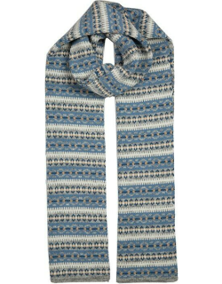Dents Women's Knitted Scarf With Striped Fairisle Print In Dove Grey